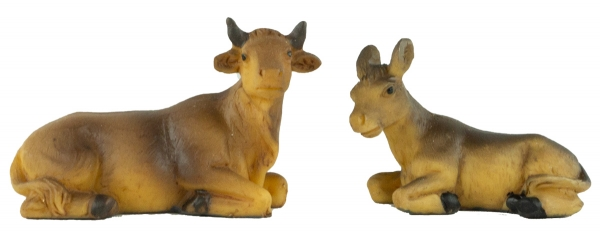 Handbemalte Krippenfiguren Ochse und Esel 2-tlg., ca. 3,5 cm, K 181-03