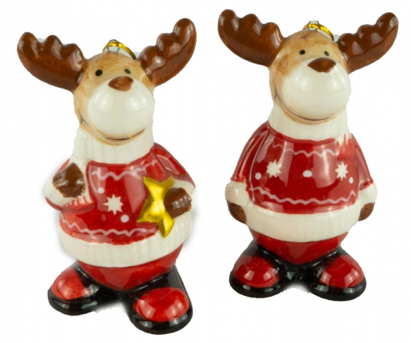 Bezaubernde Elche 2er Set klein ca. 9 cm - Weihnachtsdekoration