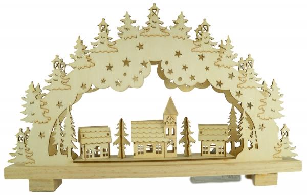Beleuchteter Schwibbogen Dorf 3D ca. 28 x 45 x 5 cm - Weihnachtsdekoration