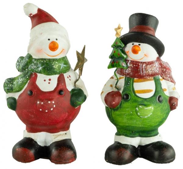 Bezaubernde Schneemänner 2er Set ca. 12 cm - Weihnachtsdekoration