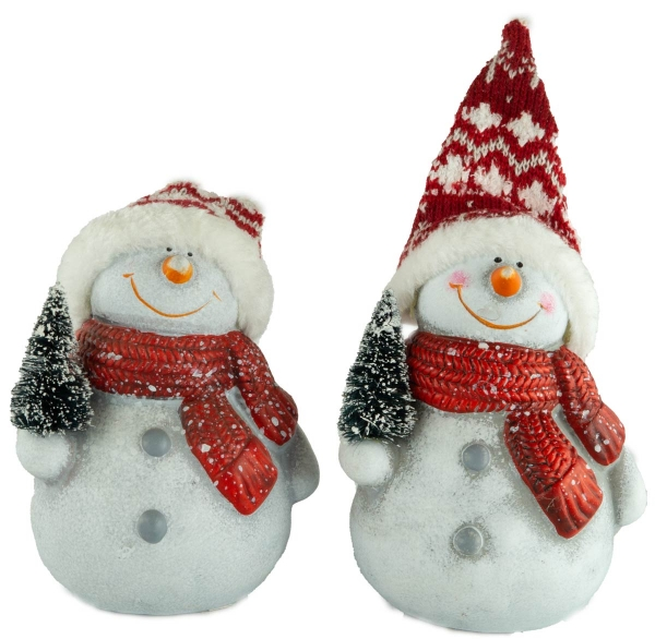 Bezaubernde Schneemänner mit Tannenbaum 2er Set ca. 14 cm - Weihnachtsdekoration