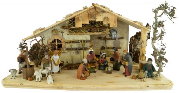 Bezaubernde handgemachte beleuchtbare Weihnachtskrippe Lauf inkl. 16-tlg. handbemaltem Figurensatz K 036-10