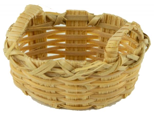 Handgefertigter großer Korb oval geflochten - Krippenzubehör, ca. 2 cm